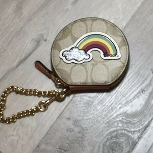 Coach round coin case Rainbow Motif Patch